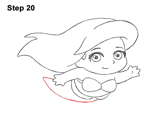 Draw Mini Chibi Little Mermaid Ariel 20