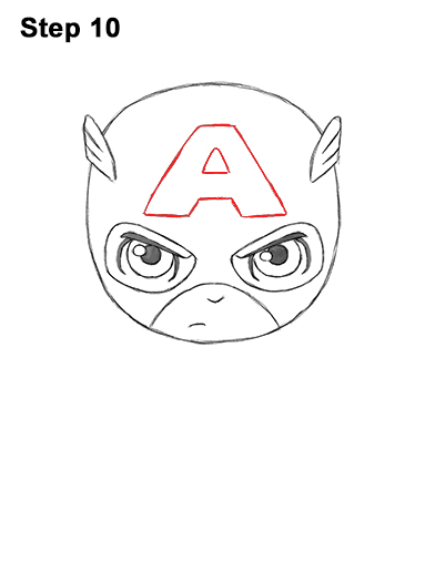 Draw Mini Chibi Little Captain America 10