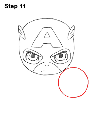 Draw Mini Chibi Little Captain America 11