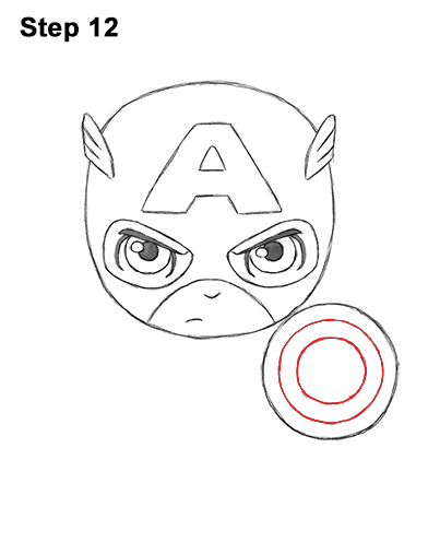 Draw Mini Chibi Little Captain America 12