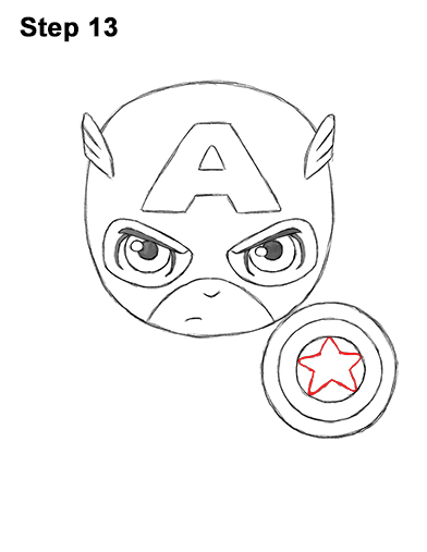 Draw Mini Chibi Little Captain America 13