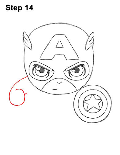 Draw Mini Chibi Little Captain America 14