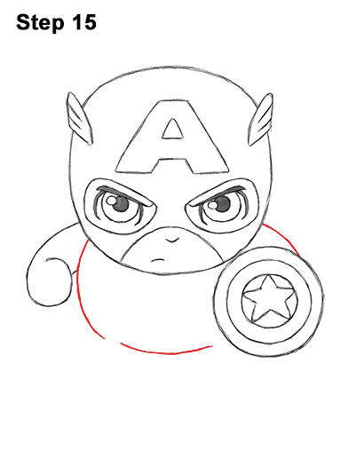 Draw Mini Chibi Little Captain America 15