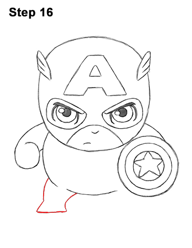 Draw Mini Chibi Little Captain America 16