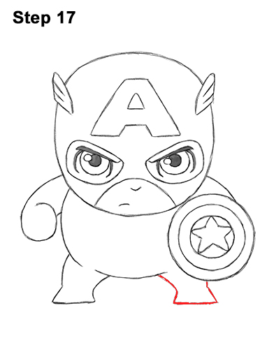 Draw Mini Chibi Little Captain America 17
