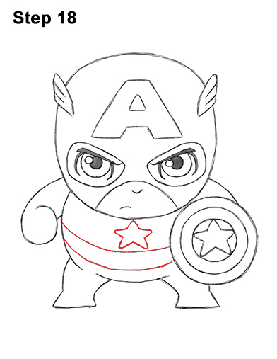 Draw Mini Chibi Little Captain America 18