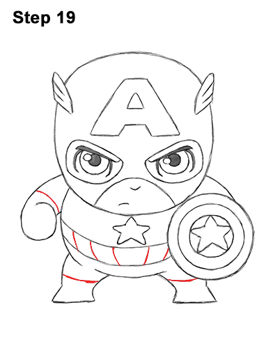 Draw Mini Chibi Little Captain America 19