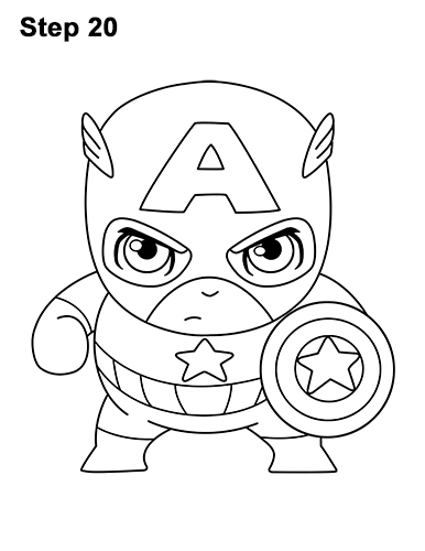 Draw Mini Chibi Little Captain America 20
