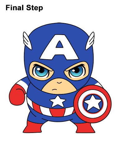 Draw Mini Chibi Little Captain America