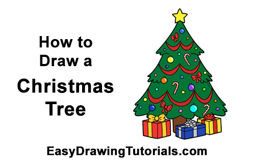 How to Draw Cartoon Christmas Tree with Presents