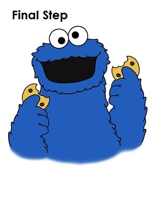 How to Draw Cookie Monster Completed Drawing