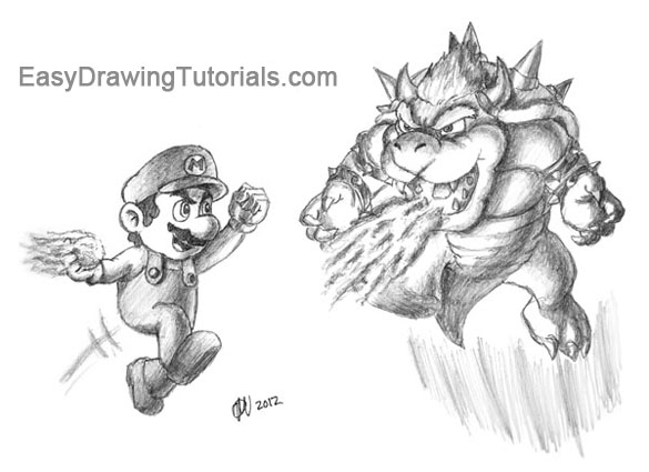 Mario Bowser Black and White
