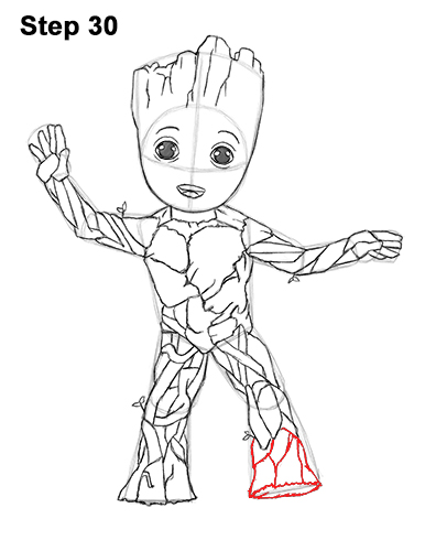 How to Draw Baby Groot Full Body Guardians of the Galaxy 30