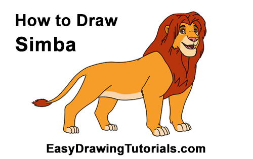 How to Draw Adult Grown Up Simba Lion King Disney
