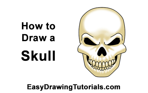 How to Draw Scary Creepy Angry Evil Skull Skeleton Halloween
