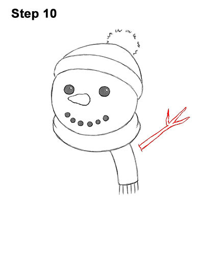 How to Draw Cute Cartoon Snowman Hat Scarf 10