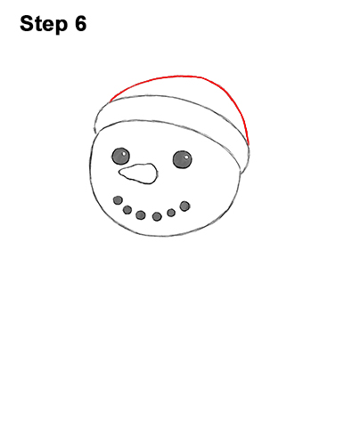 How to Draw Cute Cartoon Snowman Hat Scarf 6