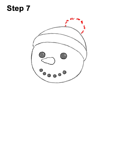 How to Draw Cute Cartoon Snowman Hat Scarf 7