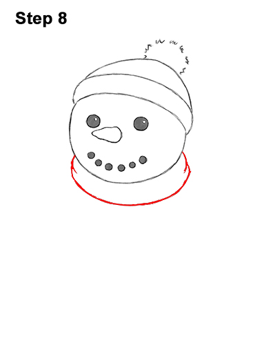 How to Draw Cute Cartoon Snowman Hat Scarf 8