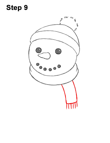 How to Draw Cute Cartoon Snowman Hat Scarf 9