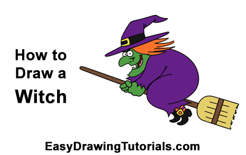 How to Draw Cartoon Witch Flying Broom Halloween