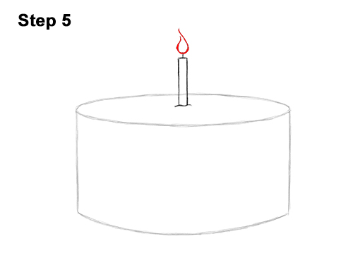 How to Draw Cartoon Birthday Cake Candle 5