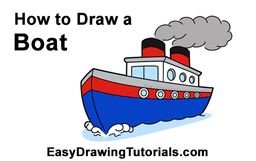 How to Draw Cartoon Boat Ship Water Clipart