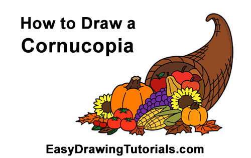 How to Draw Cartoon Cornucopia Thanksgiving