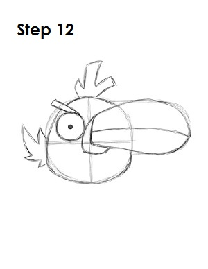 Draw Green Angry Bird Step 12