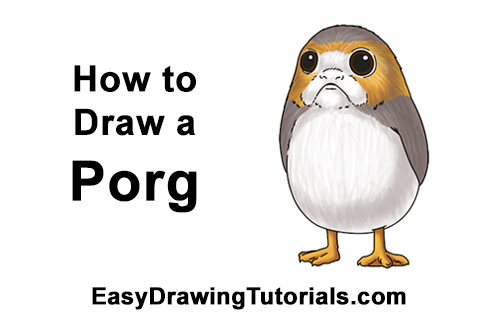 How to Draw Cute Porg Star Wars Episode VIII Last Jedi