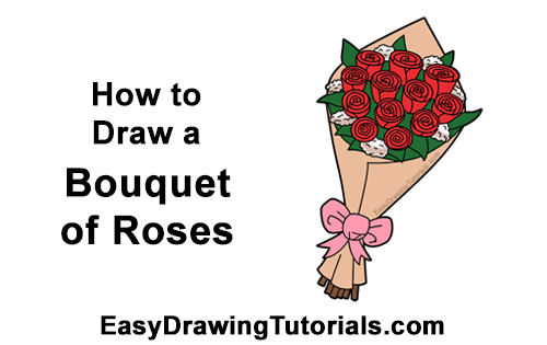 How to Draw Bouquet Dozen Roses Velentine's Day