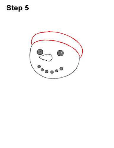 How to Draw Cute Cartoon Snowman Hat Scarf 5