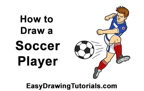 How to Draw Cartoon Soccer Football Player Kicking Ball