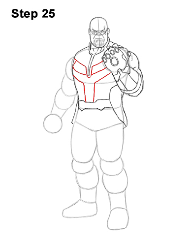 How to Draw Thanos Marvel Avengers Full Body 25