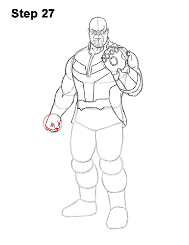 How to Draw Thanos Marvel Avengers Full Body 27
