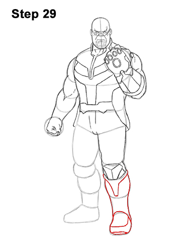 How to Draw Thanos Marvel Avengers Full Body 29