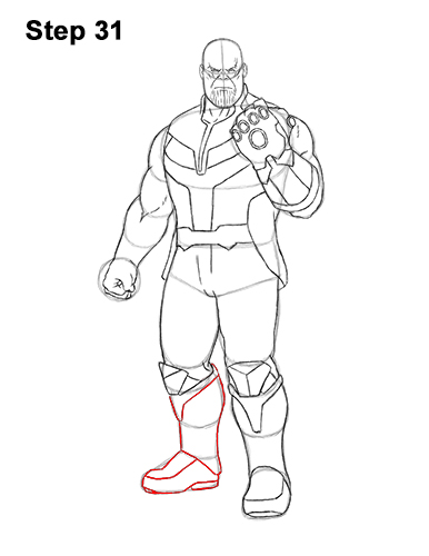How to Draw Thanos Marvel Avengers Full Body 31