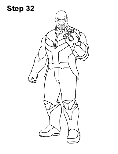 How to Draw Thanos Marvel Avengers Full Body 32