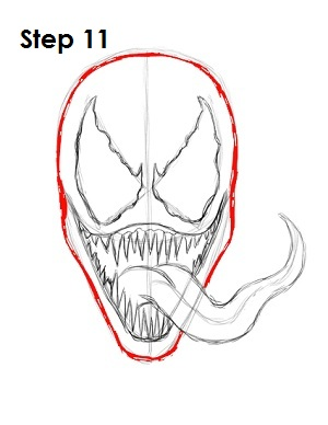 How to Draw Venom Step 11
