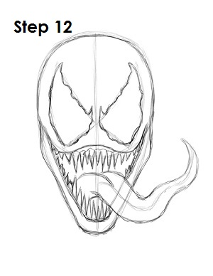 How to Draw Venom Step 12