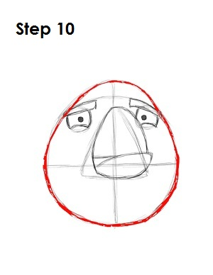 Draw White Angry Bird Step 10